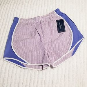 NWT Lauren James Seersucker Shorties Purple Large